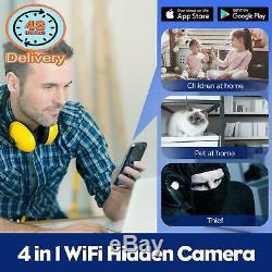 Spy Camera-Remote Wifi Hidden Camera/Wireless Charge/Bluetooth Speaker/Alarm Clo