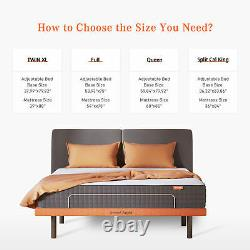 Sweet Night Adjustable Bed Frame Base Bluetooth Wireless Remote USB Ports with LED