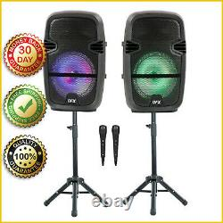 TWIN 8 BLUETOOTH WIRELESS SPEAKER Portable Party Stereo Microphone Remote Stand