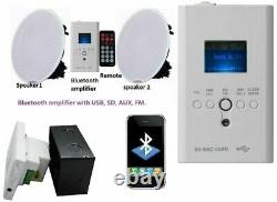 Wireless Bluetooth Ceiling Amp Speakers Stereo Kit FM USB AUX remote SD in wall