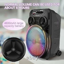 12 Pouces Bluetooth Karaoke Machine Avec 1 Microphones Sans Fil Télécommande