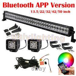 14-52 Led Light Bar + 2x 3 Pods De Brouillard Chasing Rgb Halo Strobe Bluetooth / Remote