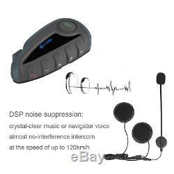 2x Bluetooth Interphone Moto Vélo Intercom Casque V81200m 5 Cavalier À Distance