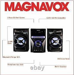3-piece CD Shelf System Digital Pll Fm Stereo Radio Bluetooth Wireless Remote