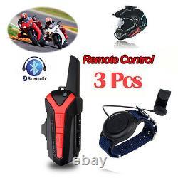 3pcs X3 Plus Moto Moto Casque De Ski Casque À Dents Bleues Withptt Remote