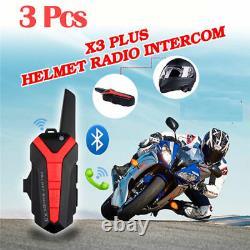 3pcs X3 Plus Moto Moto Ski Casque Bleu-dent Casque Withptt À Distance