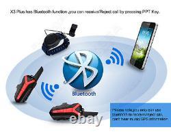 3x Casque D'écoute Intercom À Dents Bleues De Moto Walkie Talkie + Télécommande
