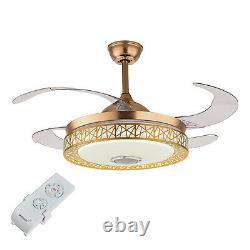 42'' Fan Light Led Chandelier Avec La Télécommande Sans Fil Bluetooth 3 Changement De Couleur