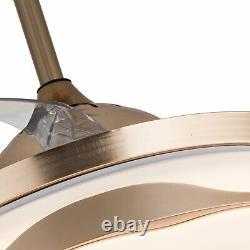 42 Ventilateur De Plafond Lumière Sans Fil Bluetooth Chandelier Rétractable Ventilateur Led Avec Distance