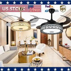 42 Ventilateur De Plafond Moderne Light Chandelier Avec Haut-parleur Bluetooth Sans Fil Led Remote