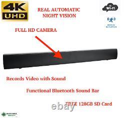 4k Uhd Wifi Wireless Night Vision Bluetooth Sound Bar Remote Spy Caméra Cachée