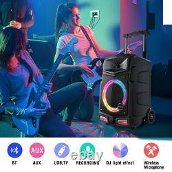 500w Karaoke Machine Pa Speaker System Bluetooth 2 Microphone Sans Fil À Distance Sd