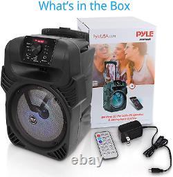 8 Portable Party Sans Fil Haut-parleur Bluetooth Lourd Basse Avec Télécommande Noire