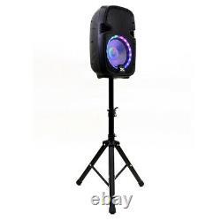 Active 10 Dj Karaoke Speaker System Bluetooth Led Wireless MIC Cables Remote