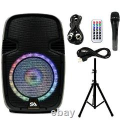 Active 12 Dj Karaoke Speaker & Stand Bluetooth Led Wireless MIC Cables Distant