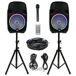 Active 12 Dj Karaoke Speaker System Bluetooth Led Wireless MIC Cables Remote