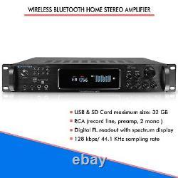 Amplificateur Stéréo Home Bluetooth 1500 Watts Usb Sd 2 Entrées Micro Télécommande Sans Fil