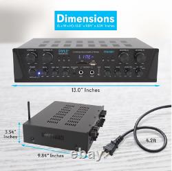 Amplificateur Stereo Home Theater Recepteur S'adapte Bluetooth Sans Fil Streaming Usb/sd