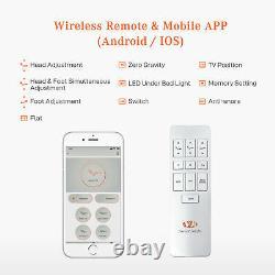 Base De Cadre De Lit Électrique Réglable Bluetooth Wireless Remote Avec Led Queen Size