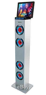 Enceinte Tour Bluetooth Avec Lumières Sharper Image, Radio Fm Et Télécommande, Blanc
