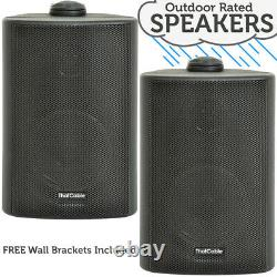 Extérieur Bluetooth Speaker Kit 2x Black Karaoke/stereo Amp Garden Bbq Parties