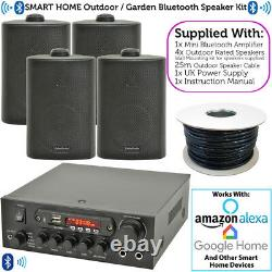 Extérieur Bluetooth Speaker Kit 4x Black Karaoke/stereo Amp Garden Bbq Parties