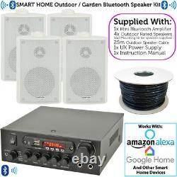 Extérieur Bluetooth Speaker Kit 4x White Karaoke/stereo Amp Garden Bbq Parties