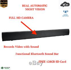Full Hd Wifi Sans Fil Bluetooth Night Vision Sound Bar À Distance Caméra Espion Caché
