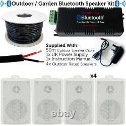 Garden Party Bbq Outdoor Speaker Kit Mini Stéréo Amp Et 4 Haut-parleurs Blancs Sans Fil
