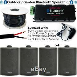 Garden Party / Bbq Outdoor Speaker Kitamplificateur Stéréo Sans Fil Mini Et 4 Haut-parleurs Noirs