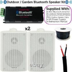 Garden Party/bbq Haut-parleur Extérieur Kitwireless Mini Stereo Amp & 2 Haut-parleurs Blancs