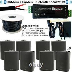 Garden Party/bbq Haut-parleur Extérieur Kitwireless Mini Stereo Amp & 8 Haut-parleurs Noirs