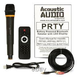 Haut-parleur Audio Acoustique 15 Pouces Led Bluetooth Microphone Sans Fil Télécommande