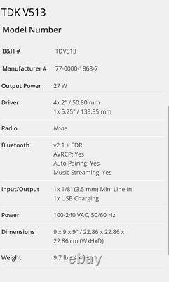 Haut-parleur Audio Bluetooth Sans Fil Tdk-v513 Avec Mémoire