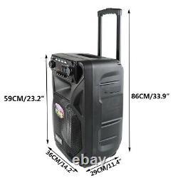 Haut-parleur Bluetooth 12 Pa Karaoke Disco Dj Audio Usb/tf/sd 2 Mics Sans Fil À Distance