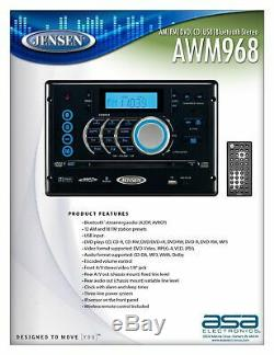 Jensen Awm968 Am / Fmcddvdusbauxrcabluetooth Stéréo Avec Télécommande Sans Fil Rv