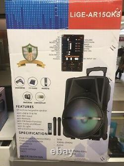 Karaoke Machine Inc Dj Light Bluetooth 2 Microphones Sans Fil Avec Télécommande