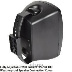 Kit Haut-parleur Bluetooth Extérieur 4x 60w Black Stereo Amplificateur Jardin Parties Barbecue