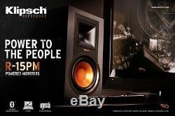 Klipsch Haut-parleurs Amplifiés R-15pm, Ébène 2 Voies Avec Bluetooth Et Télécommande