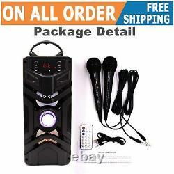 Machine Portable De Karaoké Bluetooth Avec La Télécommande Sans Fil De 2 Microphones