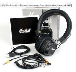 Marshall Major 2 II Casque Bluetooth Génération Casque Télécommande MIC Noir