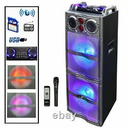 Nouveau Haut-parleur Sans Fil Bluetooth Led Woofers Fm Radio Aux-in MIC Remote Usb/sd