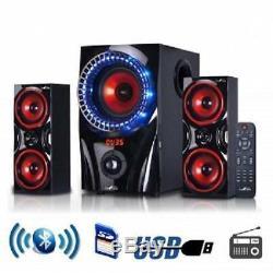 Nouveau Système D'enceintes De Son Ambiophonique Bluetooth 2.1 Home Radio Fm Avec Télécommande Usb / Sd