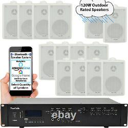 Outdoor Bluetooth Stereo System 120w Blanc Enceintes Étanches Jardin Audio