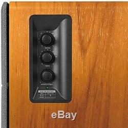Paire De Haut-parleurs Bluetooth Étagères Haut-parleurs Sans Fil Moniteur De Studio En Bois À Distance
