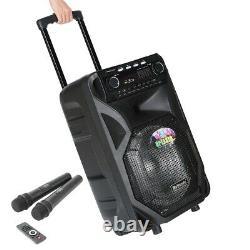 Portable 12/15 Bluetooth Enceinte De Sonorisation À Distance Sans Fil Haut-parleur Dj 2 MIC Us