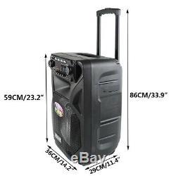 Portable Bluetooth Enceinte De Sonorisation À Distance 12/15 Dj Haut-parleur Sans Fil 2mic