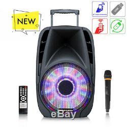 Portable Bluetooth Karaoke Haut-parleur Sans Fil 12inch Pa Dj Extérieur Fort Led À Distance