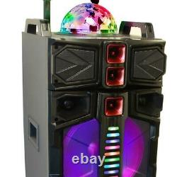 Portable Bluetooth Speaker Wireless Microphone Remote Control Battery Black