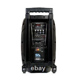 Powered 10 Dj Karaoke Speaker Rechargeable Bluetooth Led Wireless Mics Remote